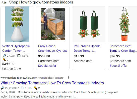 Check the Google SERP for User Intent per Google