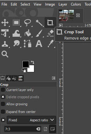 Gimp crop tool with inserted values