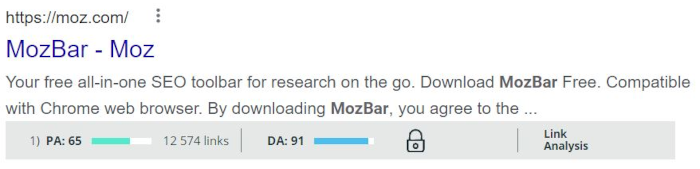 Mozbar helps us estimate a website's level of authority and find low competition keywords.