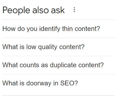 """""""People also ask"""" section in Google to understand user intent and expectations"""